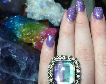 925 Stamped Fluorite Statement Ring, Size 7