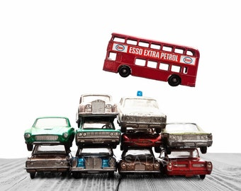 Car Pile The Red Bus Jump on White and Grey Background, Photo Print, Boys Room decor, Boys Nursery Prints