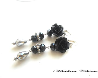 Elegant earrings, black roses, handmade earrings, earrings made of polymer clay