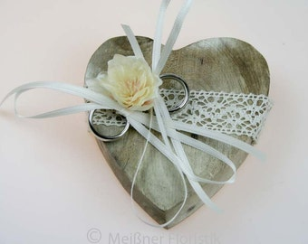 Wooden heart ring pillow, vintage cream small