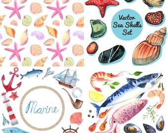Sea Elements Clipart Print Watercolor clipart Digital Paper Instant Download