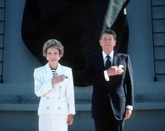 President Ronald Reagan and Nancy Salute the U.S. Flag Aboard the USS Iowa - 5X7, 8X10 or 11X14 Photo (AA-060)