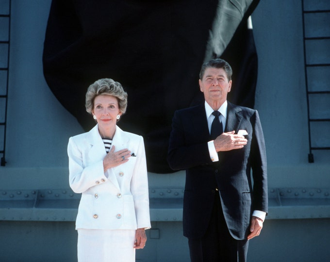 President Ronald Reagan and Nancy Salute the U.S. Flag Aboard the USS Iowa - 5X7, 8X10 or 11X14 Photo (AA-060)
