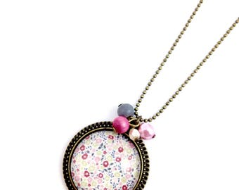 Bronze necklace - cabochon flowers Liberty