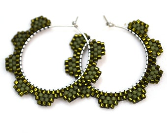 Olive Green Earrings Everyday Hoops Bohemian Festival Jewelry Gypsy Metallic Matte Tribal Statement Ethnic Geometric Beaded Circle Western