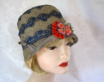 1920s Cloche Hat / 20s Cloche Hat / Embroidered Straw Braid Cloche Hat / Meadowbrook of California / 22""