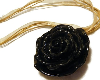 Short black Camellia flower resin necklace on waxed cotton and organza, mother's day, spring summer 2018