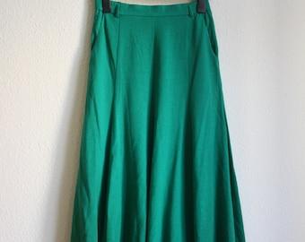 1980 Givenchy Rock midi Highwaist green Turquoise wool virgin wool Eighty twinset