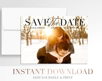 Printable Wedding Save the Date // Use your photos // Save the Date // Digital Wedding Stationery // Templett