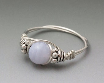 Blue Lace Agate Bali Gemstone Sterling Silver Wire Wrapped Bead Ring - Made to Order, Ships Fast!