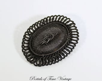 Antique Georgian Victorian Silesian Wirework Black Mesh Iron Brooch Mourning 19th Century