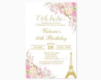 Paris Birthday Party Invitation, Eiffel Tower Birthday Party Invitation, Watercolor Flowers, Pink, Gold Glitter, Printable or Printed