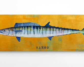 Fathers Day Gift For Him, Fishing Gifts for Men, Wahoo Art Block, Wahoo Print, Gifts for Fishermen, Gifts for Men, Fish Gifts