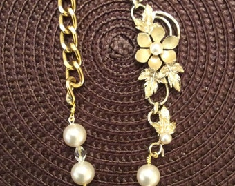 Delicate Leafy Pearl Assemblage Necklace
