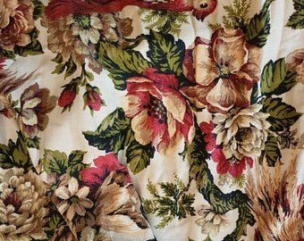 Large Vintage BARKCLOTH ERA Drapery / Curtain Panel Floral Birds, Phesants, Leaves, Fabric Sewing Projects Hippy, Mid Century, Retro