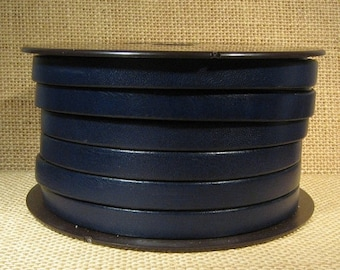 10mm Flat Leather - Navy Blue - 10F-18 - Choose Your Length