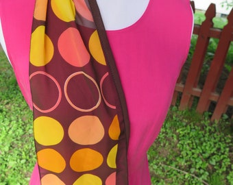 Vintage Scarf, Mid Century Soft Brown with Yellow and Orange BIG Polka Dots Scarf