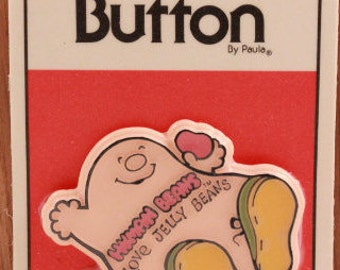 """Vintage New/Old Stock Sealed Human Beans Button by C. M. Paula Co. """"Loves Jelly Beans"""""""