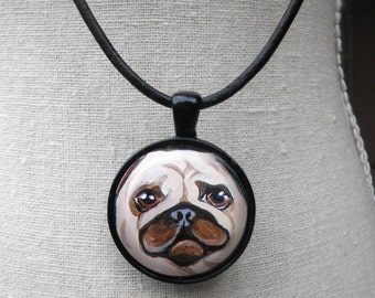 Fawn Pug Necklace ~ Birthday Gift ~ Pet Keepsake ~ April Birthday ~ Pug Portrait ~ Dog Painting ~ Dog Miniature