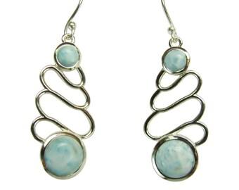 Pair of Sterling Silver and Larimar Stone Earrings ARRSDE-1563550