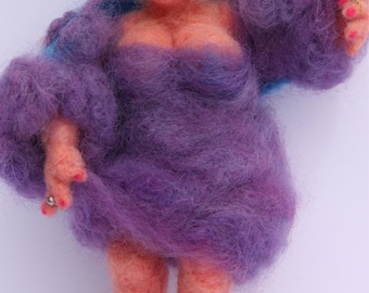 Lady in Purple Original One-of-a-Kind Needle Felted Sculpture