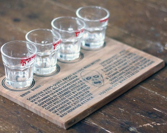 Zombie drinking game with four bloody shot glasses, great for horror fans of Walking Dead or Dawn of the Dead etc Halloween Party game