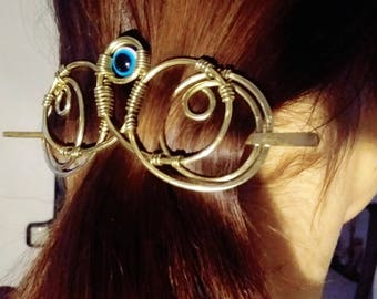 Hammered Hair Barrette with eye, Freak hair slide, Brass Hair Pin for Thick Hair, Amulet Hair Clip, Metal Handcrafted Ponytail holder,