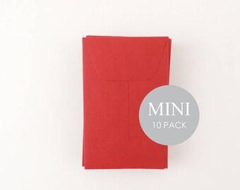 """Mini Envelopes - 2"""" x 3 1/2"""" ,  Envelopes, Business Card Envelopes, Red , sold in sets of 10"""