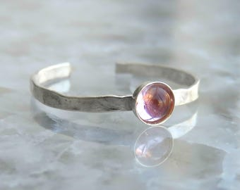 Sterling Silver Toe Ring - Adjustable toe ring - Pink tourmaline knuckle ring - Foot jewelry