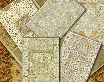 Vintage Lace Backgrounds Digital Collage Sheet, ACEO, ATC Images, Printable Instant Download (no. 2)