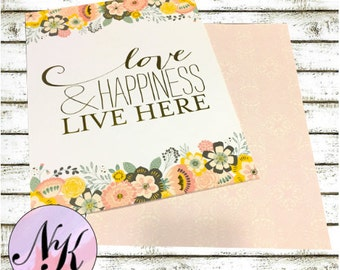 Gold Foil Cover,Love and Happiness Live Here, Planner Cover,inspiration print, Framable, use with Erin Condren Planner(TM), Happy Planner