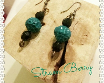 Boho chic long earrings with paper beads