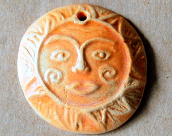 1 Handmade Ceramic Bead - Light and Bright Sun Bead - available in Orange, Brown and Neutral