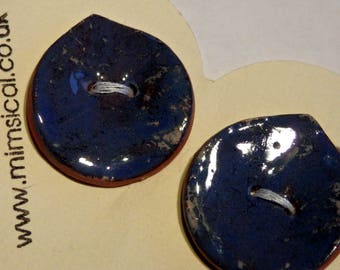 Handmade ceramic buttons - pair of blue petal handpainted pottery buttons C103