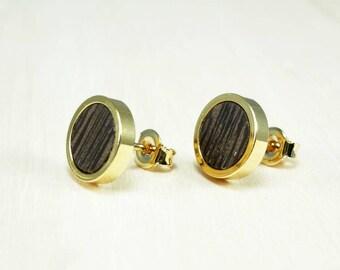 Black gold studs earrings, Wooden earrings studs, Gold earrings, Tiny round studs, Simple wood earrings, Mini stud earrings