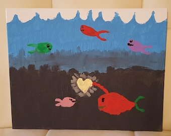 Fish Love Handpainted Canvas Board kid made child artist
