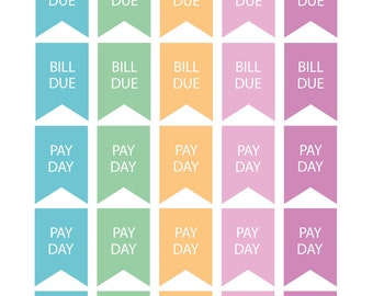 Bill Due & Pay Day Flags Planner Stickers Organiser Reminder