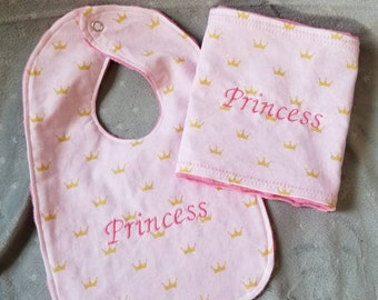 Princess embroidered crown bib & burp cloth