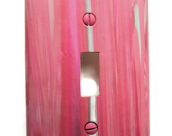 Light Switch Cover, Toggle Switchplate, Single Switch Plate with Pink and Mint Green Striped Pattern
