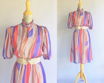 Vintage Coral And Purple Swirled Dress (Size Small)