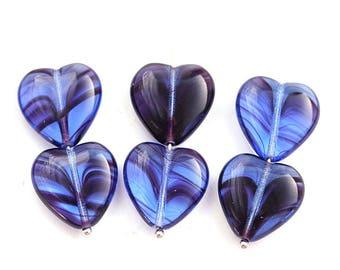 15mm Blue Purple Heart beads Mixed Blue Violet beads Czech glass heart beads, 10Pc - 3024
