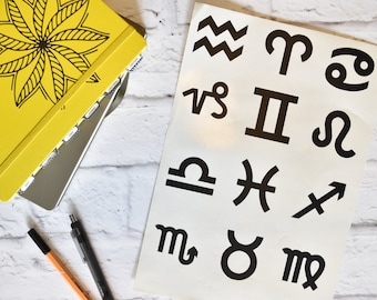 ZODIAC SIGN Vinyl Decal - Bullet Journal, Planner Accessory, Vinyl Decal, BUJO