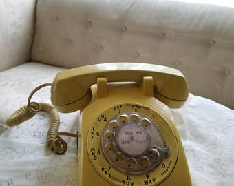 Vintage Telephone, Rotary Phone, Yellow Rotary, Dial Phone, Working Telephone, Bell System Western Electric