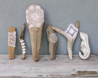 Natural Painted Driftwood Sticks, Doily, Lace, Feathers, Dream catcher, Beach Home Decor, Driftwood Decor, Set of 6