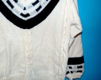 Wool - handmade - vintage sweater - made in France - sweater knit - Navy Blue and white