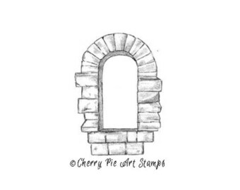 Castle window - CLING Rubber STAMP for acrylic block R593