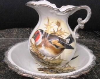 "Listing 289 is a Medium Size pitcher and basin set ""BIRD SOJOUN"""