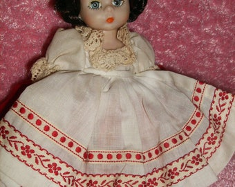 "Vintage Madame Alexander Doll "" Russia"", 8"" Tall, White,Red dress, Braids"