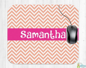 Monogrammed Mouse Pad, Computer Mouse Pad, Square Mouse Pad, Monogram Office Accessory, School Supplies, Pixel Chevron Design