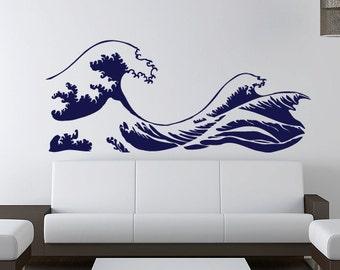 Kanagawa Wave Wall Decal  - Hokusai - Vinyl Sticker
